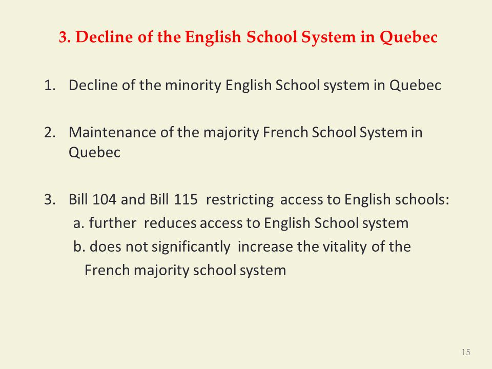3. Decline of the English School System in Quebec 1.Decline of the minority English School system in Quebec 2.Maintenance of the majority French Schoo
