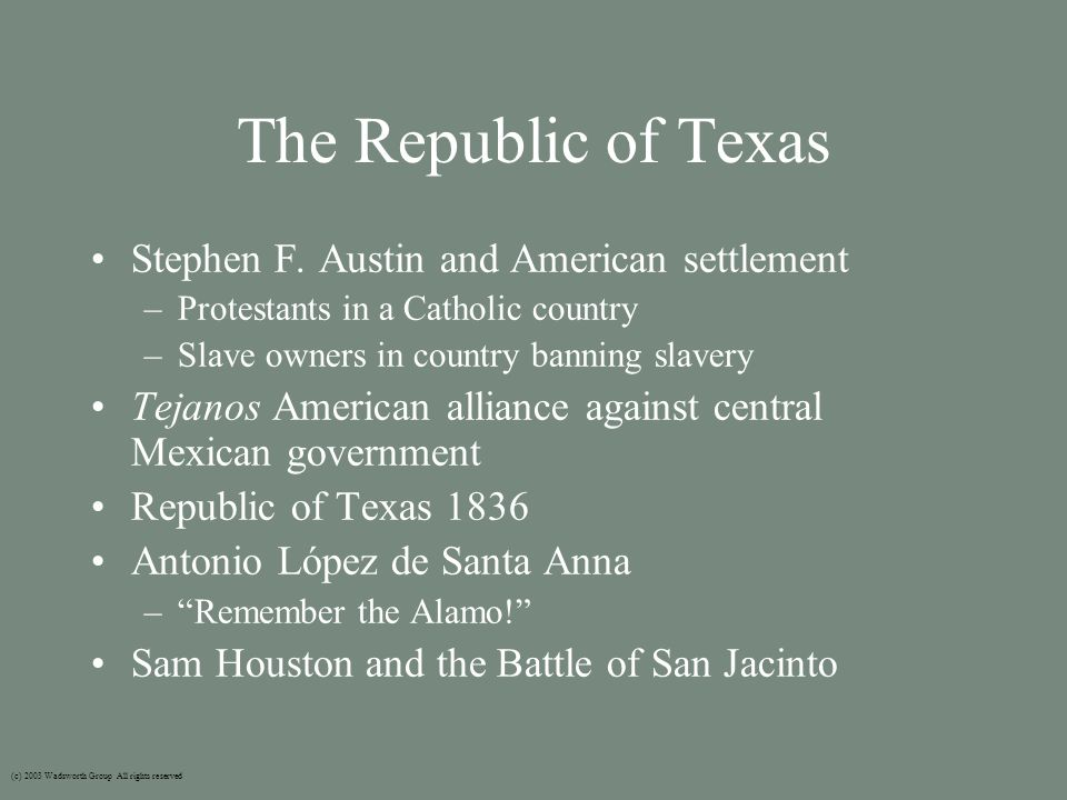 The Republic of Texas Stephen F.