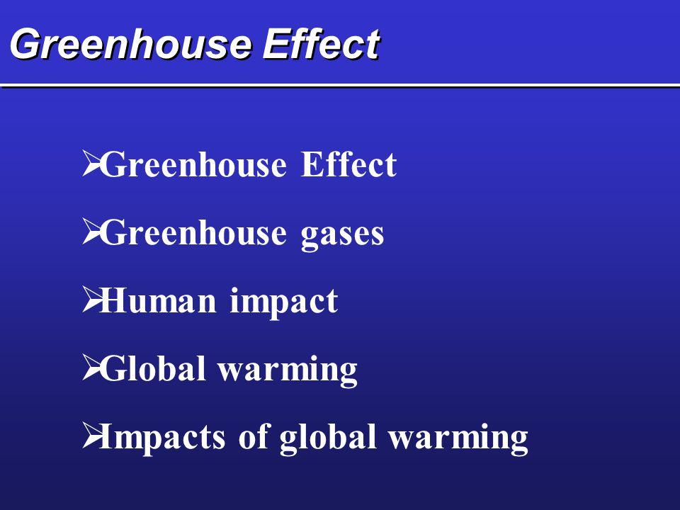 Greenhouse Effect  Greenhouse Effect  Greenhouse gases  Human impact  Global warming  Impacts of global warming