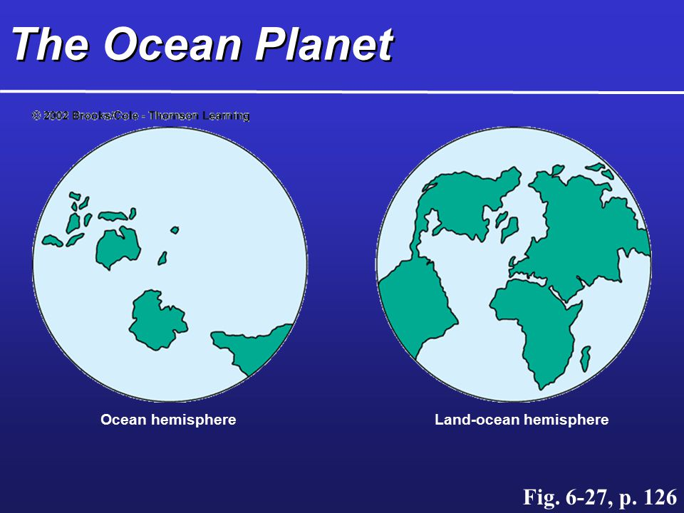 Ocean hemisphereLand-ocean hemisphere The Ocean Planet Fig. 6-27, p. 126