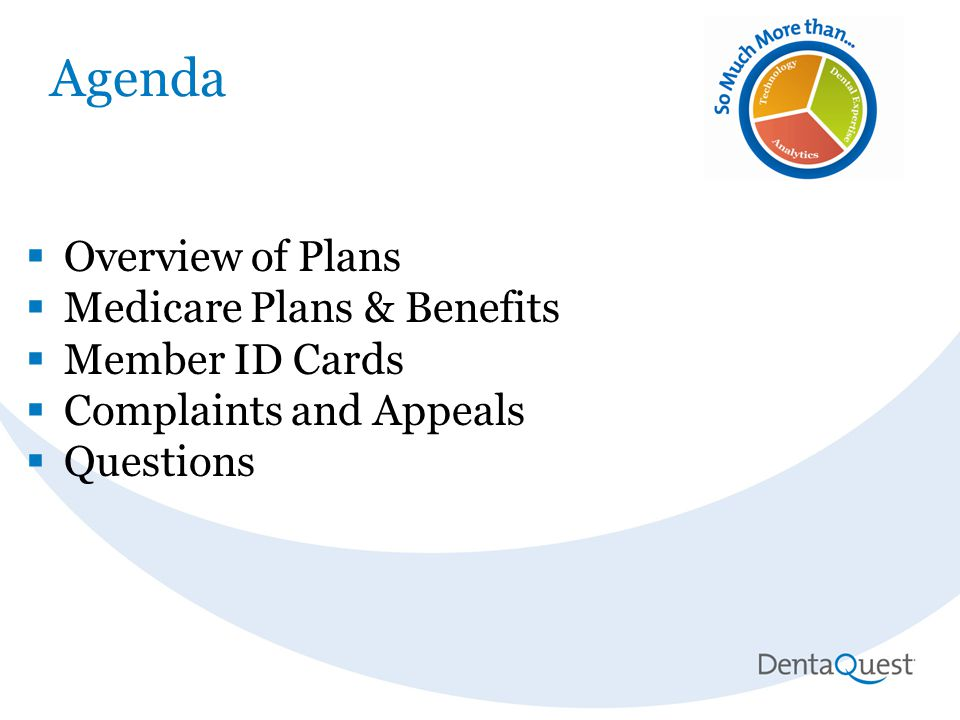 Agenda  Overview of Plans  Medicare Plans & Benefits  Member ID Cards  Complaints and Appeals  Questions