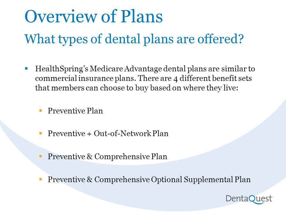 Overview of Plans What types of dental plans are offered.