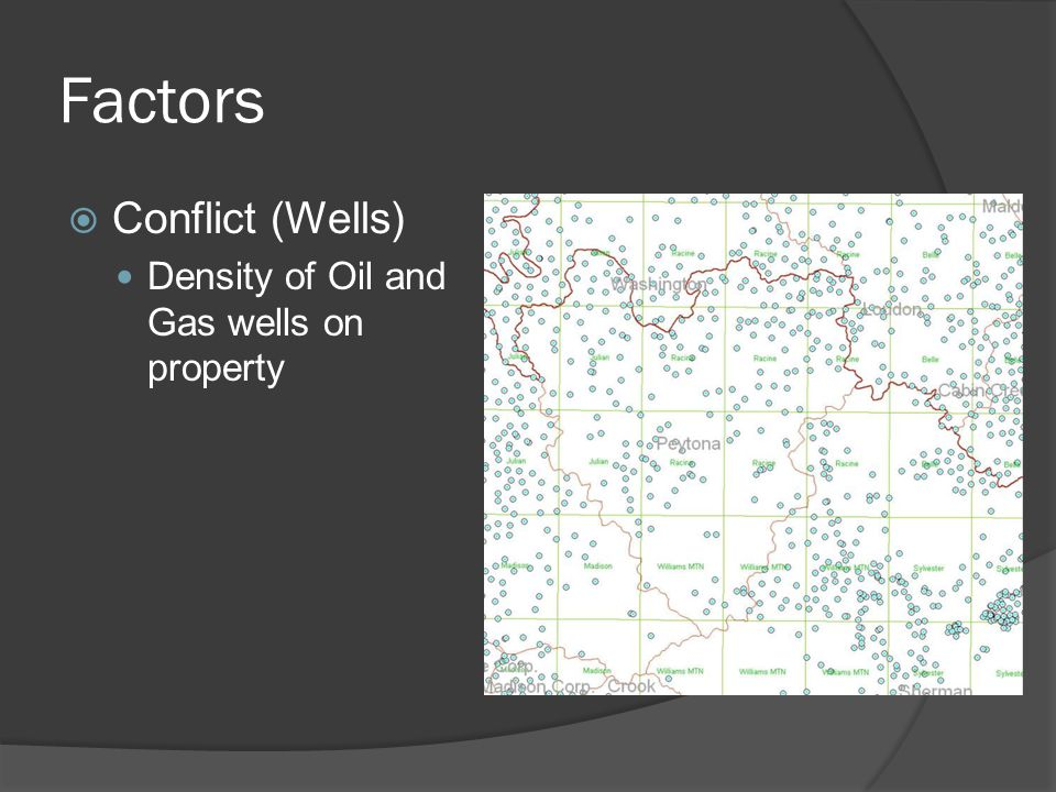 Factors  Conflict (Wells) Density of Oil and Gas wells on property