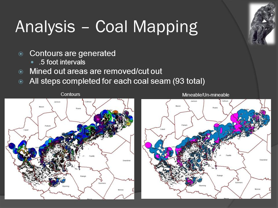 Analysis – Coal Mapping  Contours are generated.5 foot intervals  Mined out areas are removed/cut out  All steps completed for each coal seam (93 total) Contours Mineable/Un-mineable
