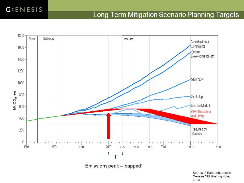 Long Term Mitigation Scenario Planning Targets Emissions peak – 'capped' Source: S Raubenheimer in Genesis NBI Briefing Note, 2008