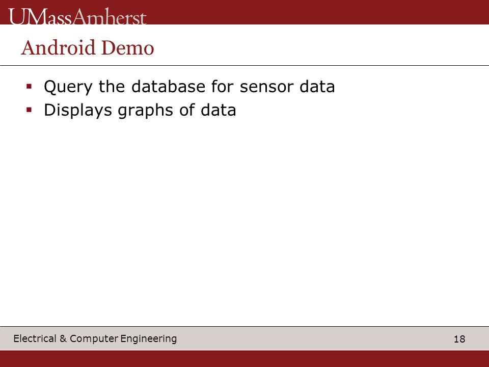 18 Electrical & Computer Engineering Android Demo  Query the database for sensor data  Displays graphs of data