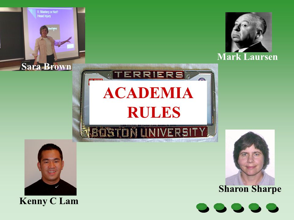 Sara Brown Mark Laursen Kenny C Lam Sharon Sharpe ACADEMIA RULES