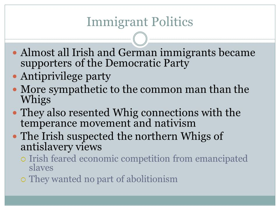 Immigrant Politics Almost all Irish and German immigrants became supporters of the Democratic Party Antiprivilege party More sympathetic to the common