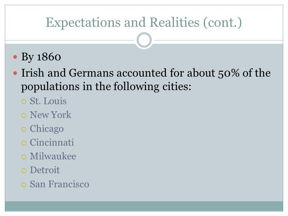 Expectations and Realities (cont.) By 1860 Irish and Germans accounted for about 50% of the populations in the following cities:  St. Louis  New Yor