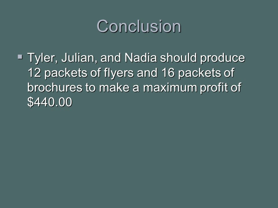 Conclusion  Tyler, Julian, and Nadia should produce 12 packets of flyers and 16 packets of brochures to make a maximum profit of $440.00