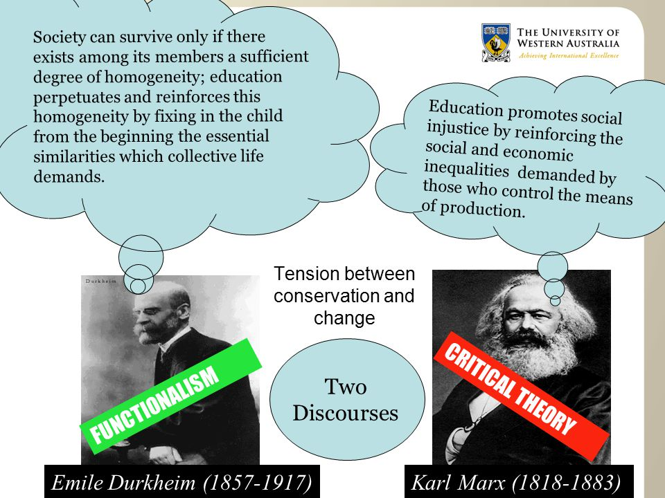 CRITICAL THEORY FUNCTIONALISM Tension between conservation and change Emile Durkheim (1857-1917)Karl Marx (1818-1883) Two Discourses Society can survive only if there exists among its members a sufficient degree of homogeneity; education perpetuates and reinforces this homogeneity by fixing in the child from the beginning the essential similarities which collective life demands.