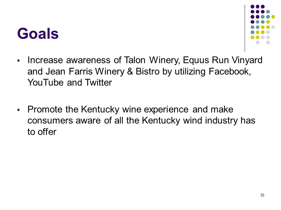 30 Goals  Increase awareness of Talon Winery, Equus Run Vinyard and Jean Farris Winery & Bistro by utilizing Facebook, YouTube and Twitter  Promote the Kentucky wine experience and make consumers aware of all the Kentucky wind industry has to offer