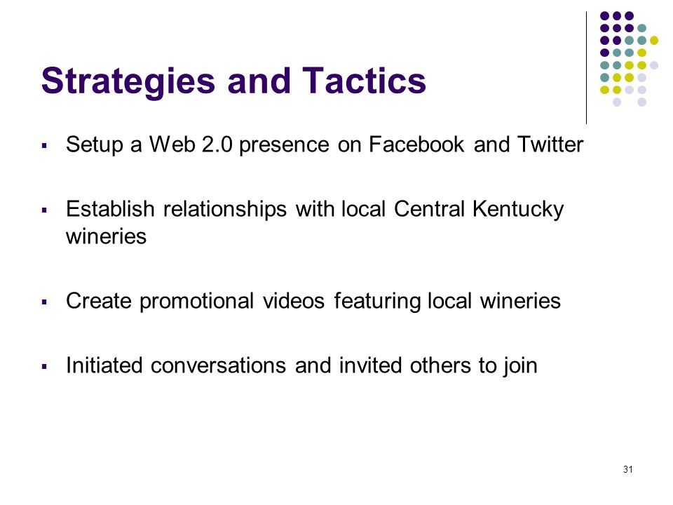 31 Strategies and Tactics  Setup a Web 2.0 presence on Facebook and Twitter  Establish relationships with local Central Kentucky wineries  Create promotional videos featuring local wineries  Initiated conversations and invited others to join