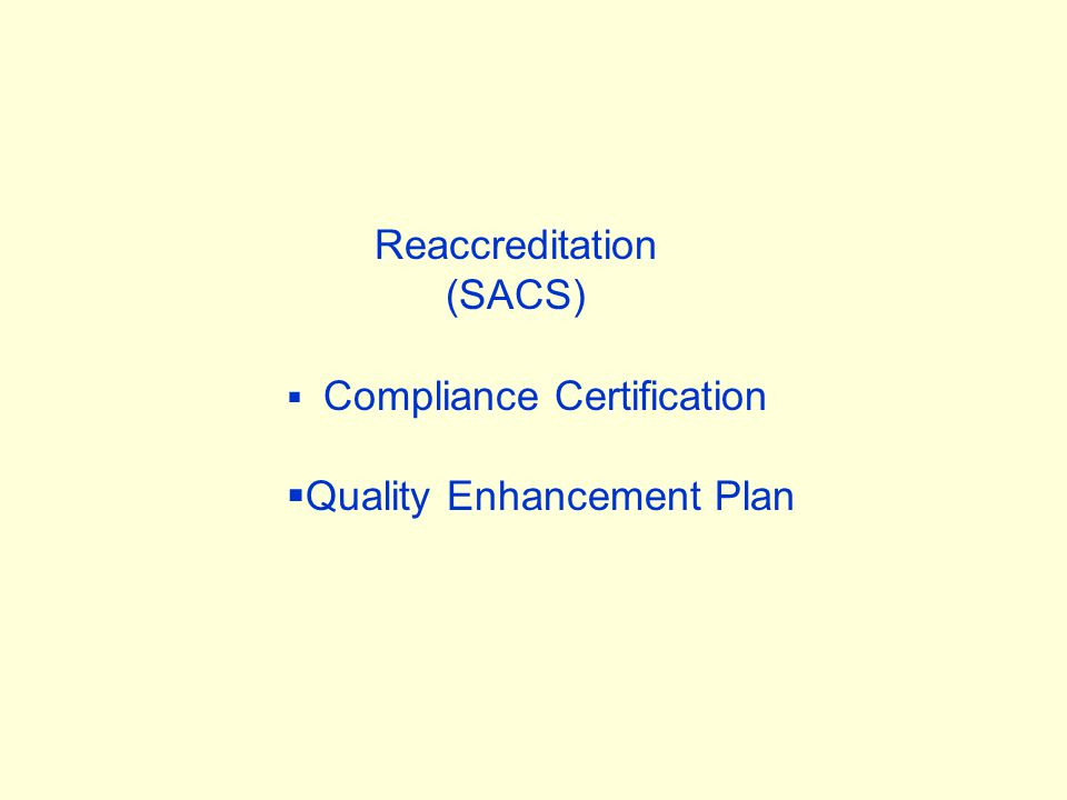 Reaccreditation (SACS)  Compliance Certification  Quality Enhancement Plan