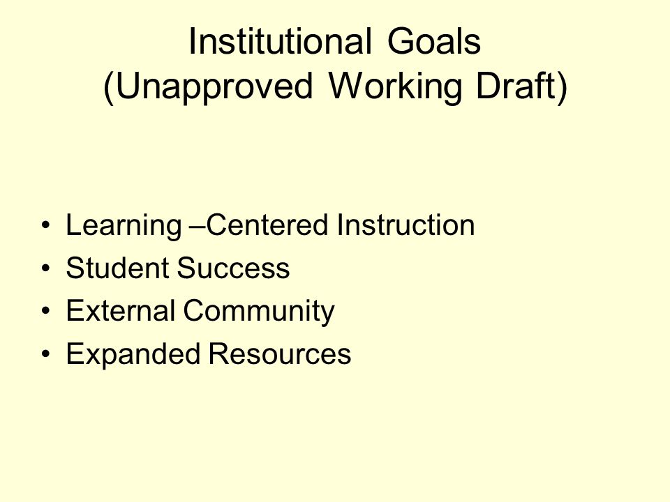 Institutional Goals (Unapproved Working Draft) Learning –Centered Instruction Student Success External Community Expanded Resources