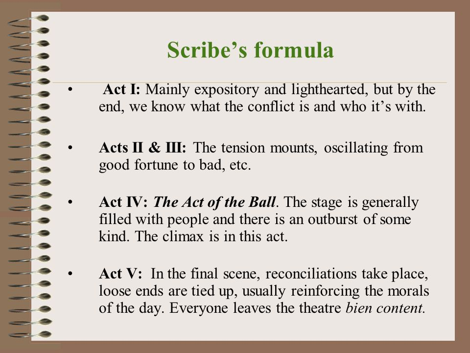 Scribe's formula Act I: Mainly expository and lighthearted, but by the end, we know what the conflict is and who it's with.