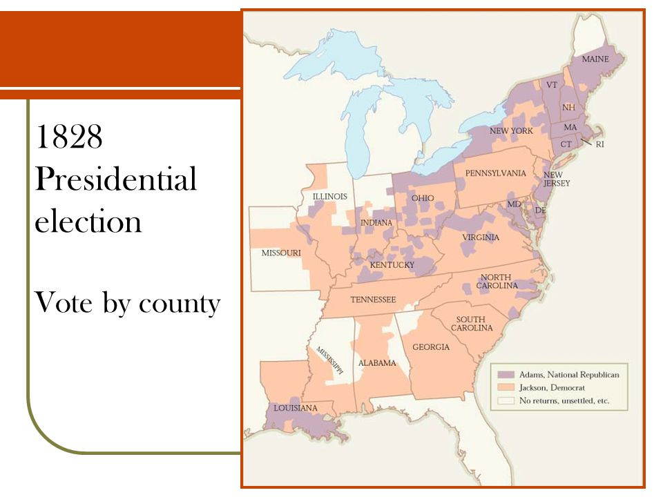 1828 Presidential election Vote by county