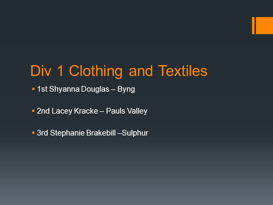 Div 1 Clothing and Textiles  1st Shyanna Douglas – Byng  2nd Lacey Kracke – Pauls Valley  3rd Stephanie Brakebill –Sulphur