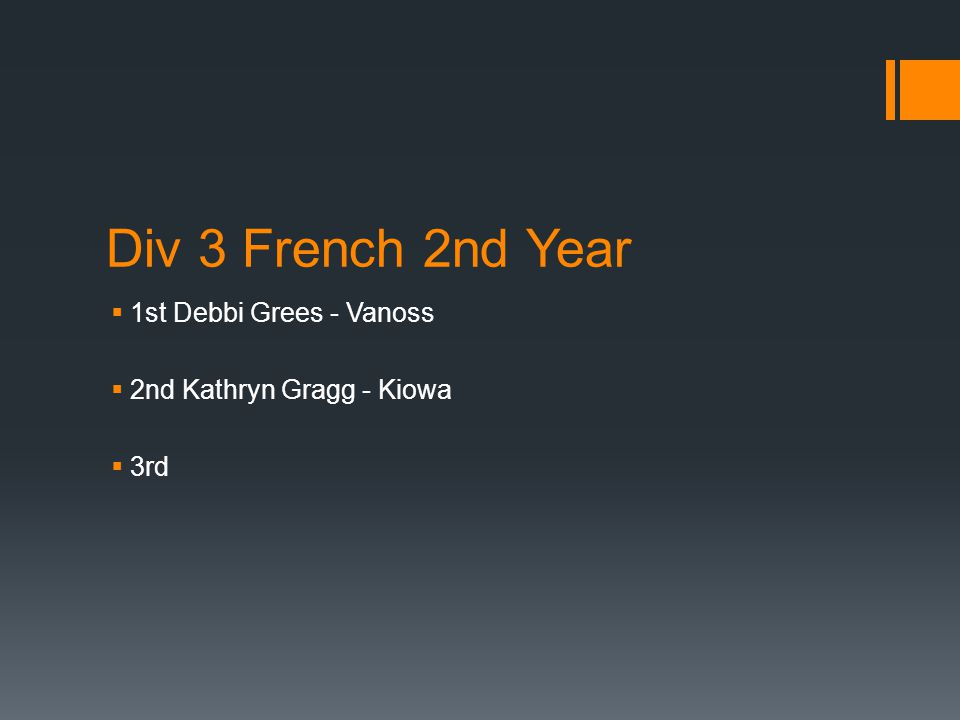 Div 3 French 2nd Year  1st Debbi Grees - Vanoss  2nd Kathryn Gragg - Kiowa  3rd