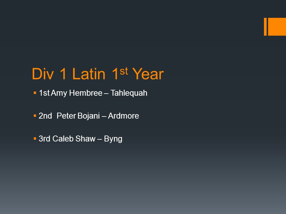 Div 1 Latin 1 st Year  1st Amy Hembree – Tahlequah  2nd Peter Bojani – Ardmore  3rd Caleb Shaw – Byng