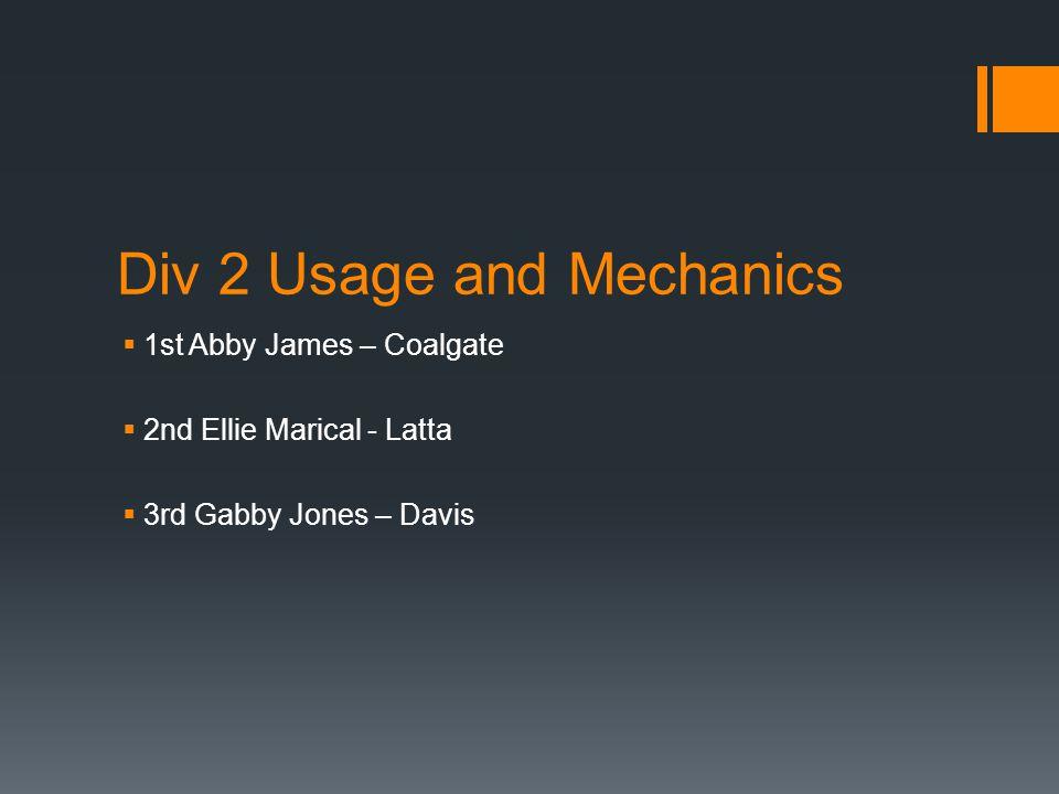 Div 2 Usage and Mechanics  1st Abby James – Coalgate  2nd Ellie Marical - Latta  3rd Gabby Jones – Davis
