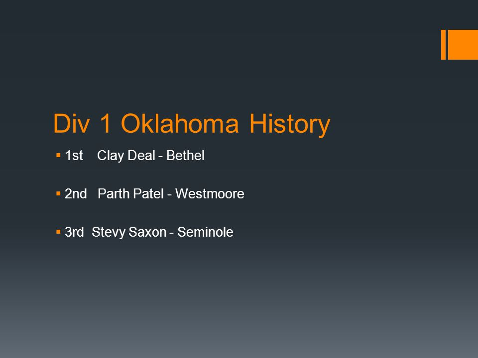 Div 1 Oklahoma History  1st Clay Deal - Bethel  2nd Parth Patel - Westmoore  3rd Stevy Saxon - Seminole