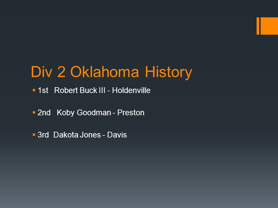 Div 2 Oklahoma History  1st Robert Buck III - Holdenville  2nd Koby Goodman - Preston  3rd Dakota Jones - Davis
