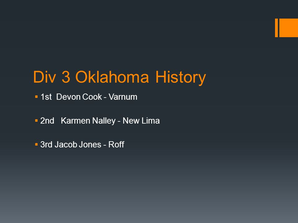 Div 3 Oklahoma History  1st Devon Cook - Varnum  2nd Karmen Nalley - New Lima  3rd Jacob Jones - Roff