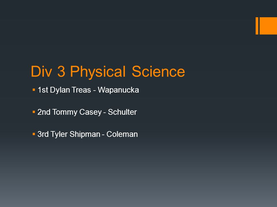 Div 3 Physical Science  1st Dylan Treas - Wapanucka  2nd Tommy Casey - Schulter  3rd Tyler Shipman - Coleman