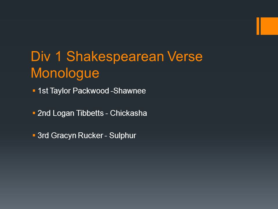 Div 1 Shakespearean Verse Monologue  1st Taylor Packwood -Shawnee  2nd Logan Tibbetts - Chickasha  3rd Gracyn Rucker - Sulphur