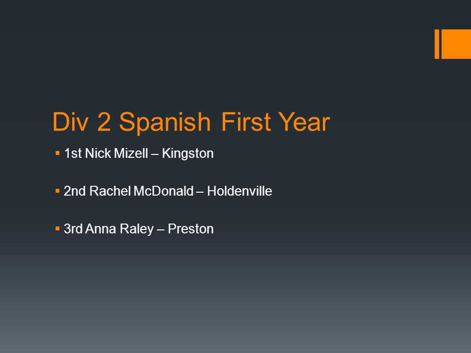 Div 2 Spanish First Year  1st Nick Mizell – Kingston  2nd Rachel McDonald – Holdenville  3rd Anna Raley – Preston