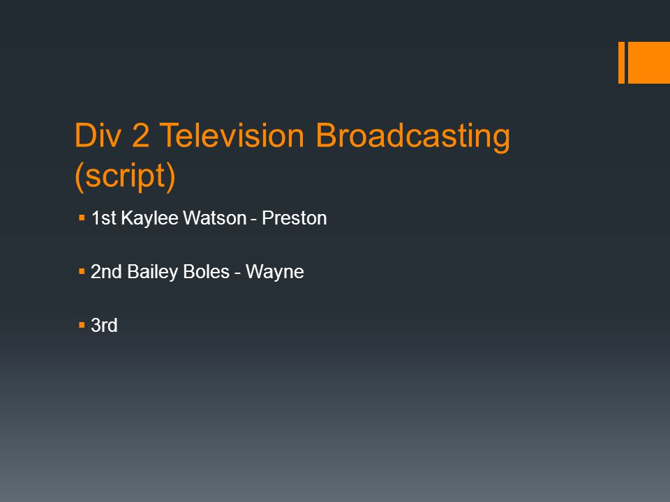 Div 2 Television Broadcasting (script)  1st Kaylee Watson - Preston  2nd Bailey Boles - Wayne  3rd