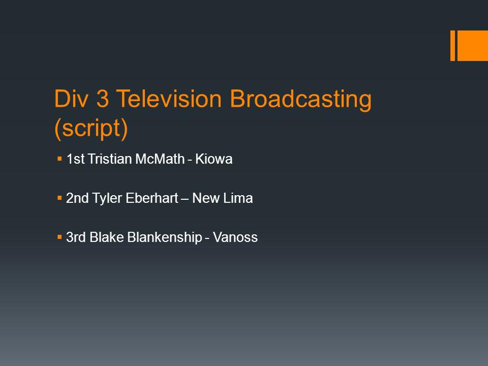 Div 3 Television Broadcasting (script)  1st Tristian McMath - Kiowa  2nd Tyler Eberhart – New Lima  3rd Blake Blankenship - Vanoss