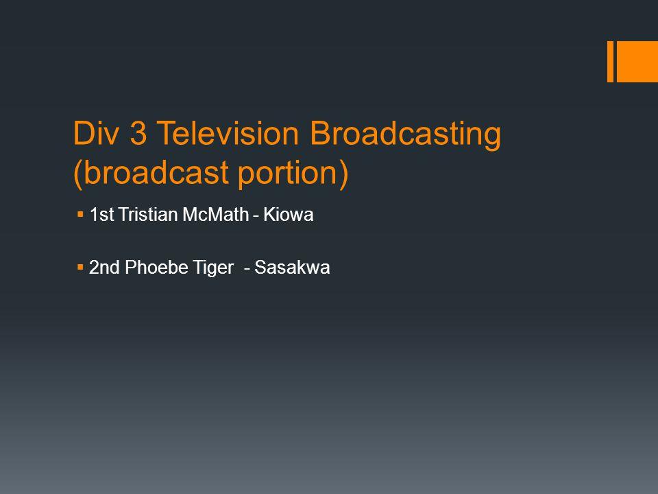 Div 3 Television Broadcasting (broadcast portion)  1st Tristian McMath - Kiowa  2nd Phoebe Tiger - Sasakwa