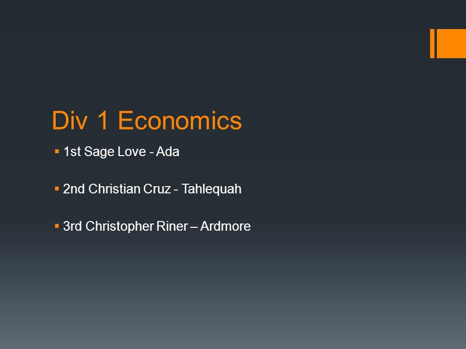 Div 1 Economics  1st Sage Love - Ada  2nd Christian Cruz - Tahlequah  3rd Christopher Riner – Ardmore