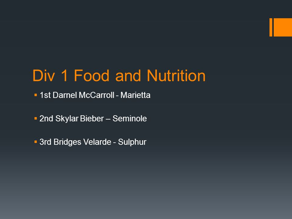 Div 1 Food and Nutrition  1st Darnel McCarroll - Marietta  2nd Skylar Bieber – Seminole  3rd Bridges Velarde - Sulphur