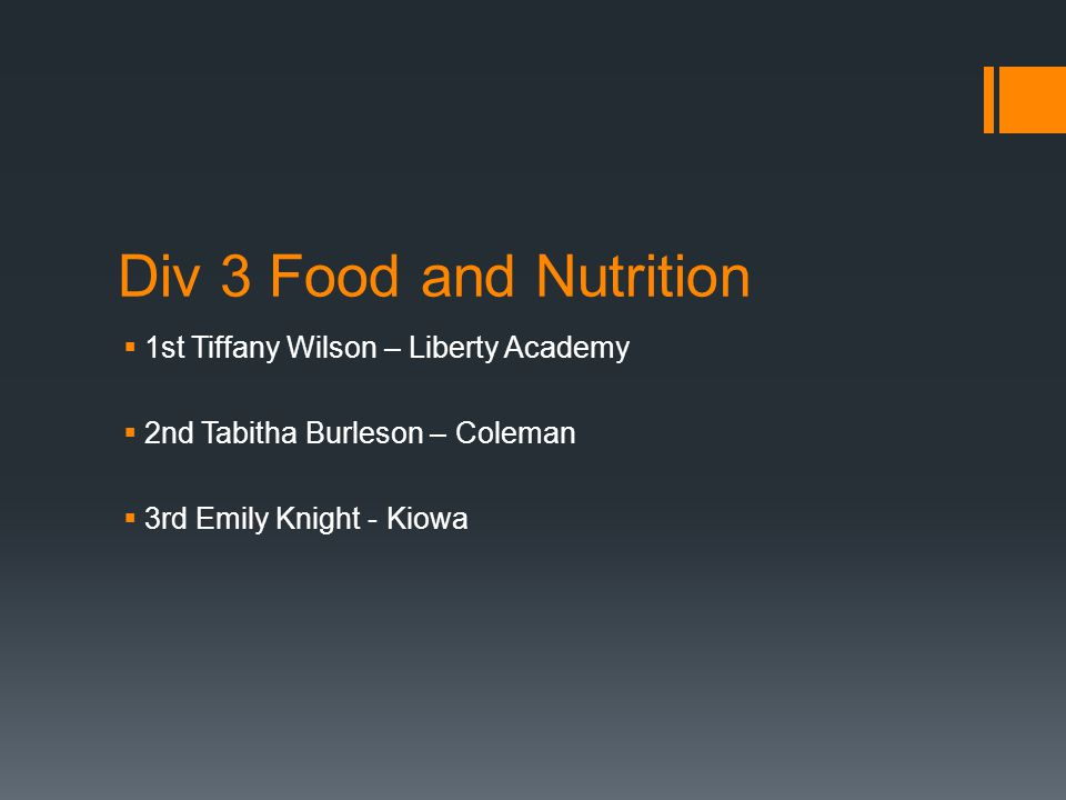 Div 3 Food and Nutrition  1st Tiffany Wilson – Liberty Academy  2nd Tabitha Burleson – Coleman  3rd Emily Knight - Kiowa