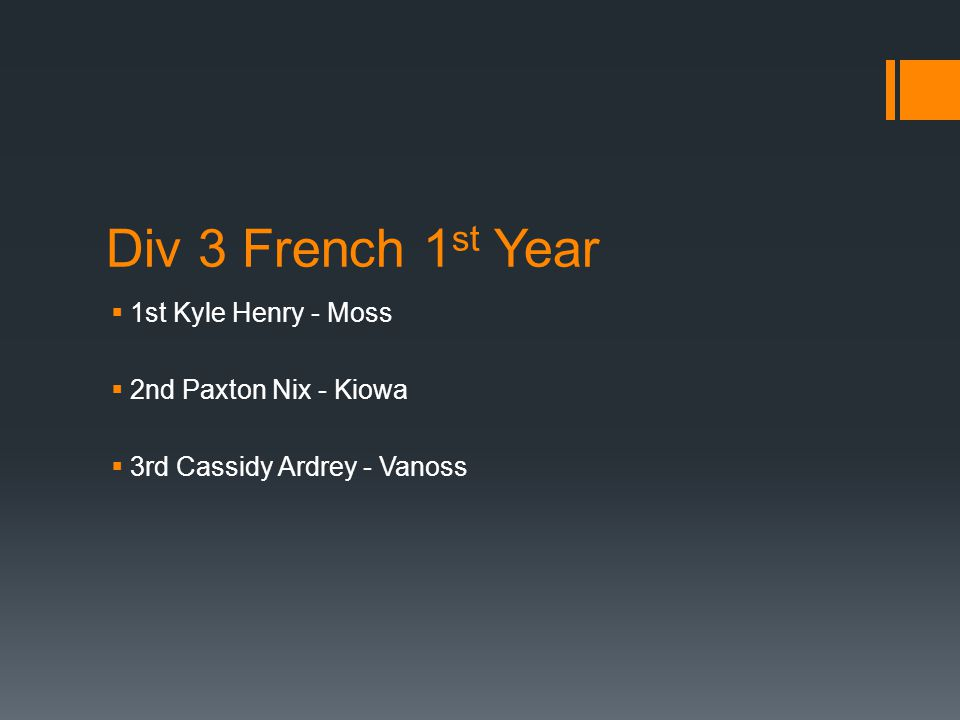 Div 3 French 1 st Year  1st Kyle Henry - Moss  2nd Paxton Nix - Kiowa  3rd Cassidy Ardrey - Vanoss