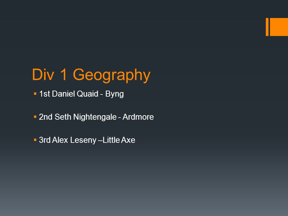 Div 1 Geography  1st Daniel Quaid - Byng  2nd Seth Nightengale - Ardmore  3rd Alex Leseny –Little Axe