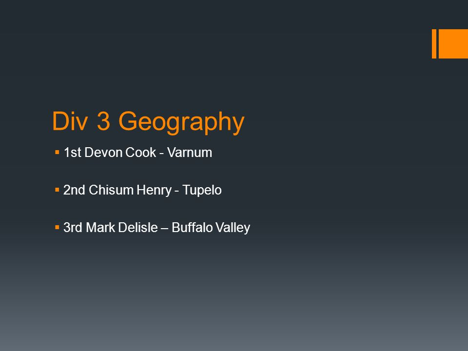 Div 3 Geography  1st Devon Cook - Varnum  2nd Chisum Henry - Tupelo  3rd Mark Delisle – Buffalo Valley