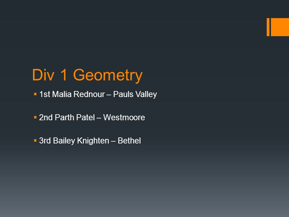Div 1 Geometry  1st Malia Rednour – Pauls Valley  2nd Parth Patel – Westmoore  3rd Bailey Knighten – Bethel