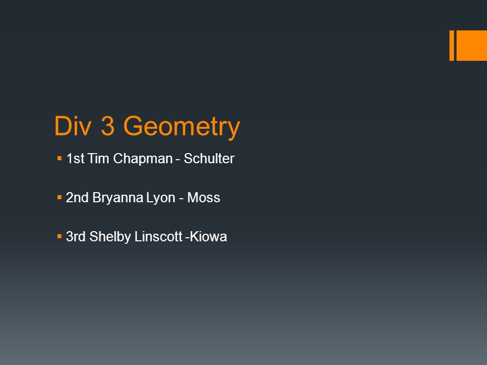 Div 3 Geometry  1st Tim Chapman - Schulter  2nd Bryanna Lyon - Moss  3rd Shelby Linscott -Kiowa