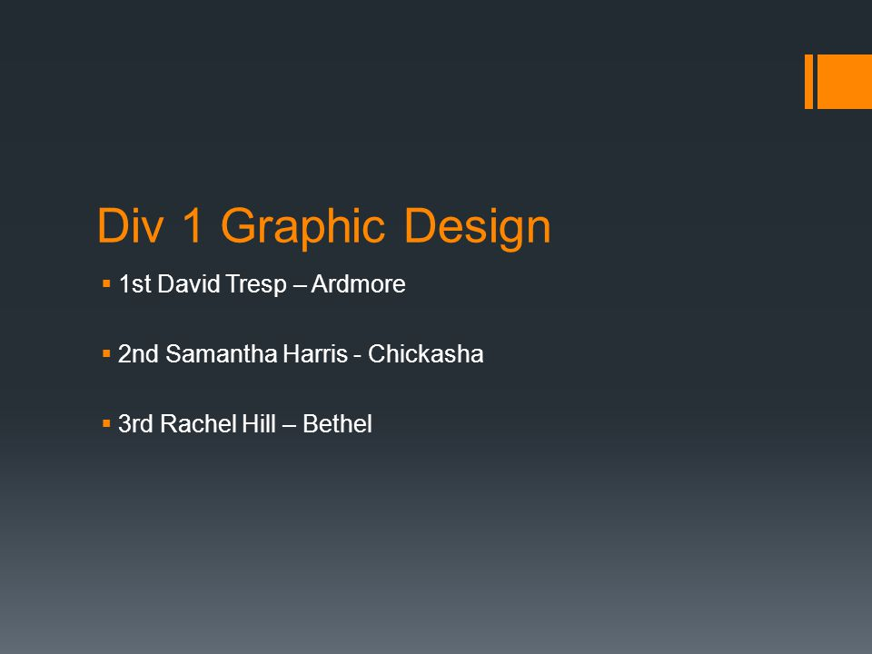Div 1 Graphic Design  1st David Tresp – Ardmore  2nd Samantha Harris - Chickasha  3rd Rachel Hill – Bethel