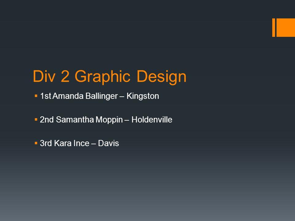 Div 2 Graphic Design  1st Amanda Ballinger – Kingston  2nd Samantha Moppin – Holdenville  3rd Kara Ince – Davis