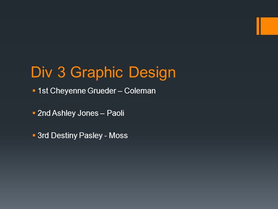 Div 3 Graphic Design  1st Cheyenne Grueder – Coleman  2nd Ashley Jones – Paoli  3rd Destiny Pasley - Moss