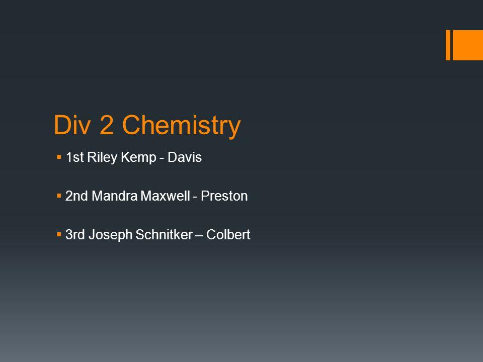 Div 2 Chemistry  1st Riley Kemp - Davis  2nd Mandra Maxwell - Preston  3rd Joseph Schnitker – Colbert