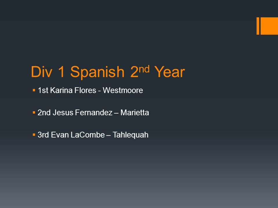 Div 1 Spanish 2 nd Year  1st Karina Flores - Westmoore  2nd Jesus Fernandez – Marietta  3rd Evan LaCombe – Tahlequah