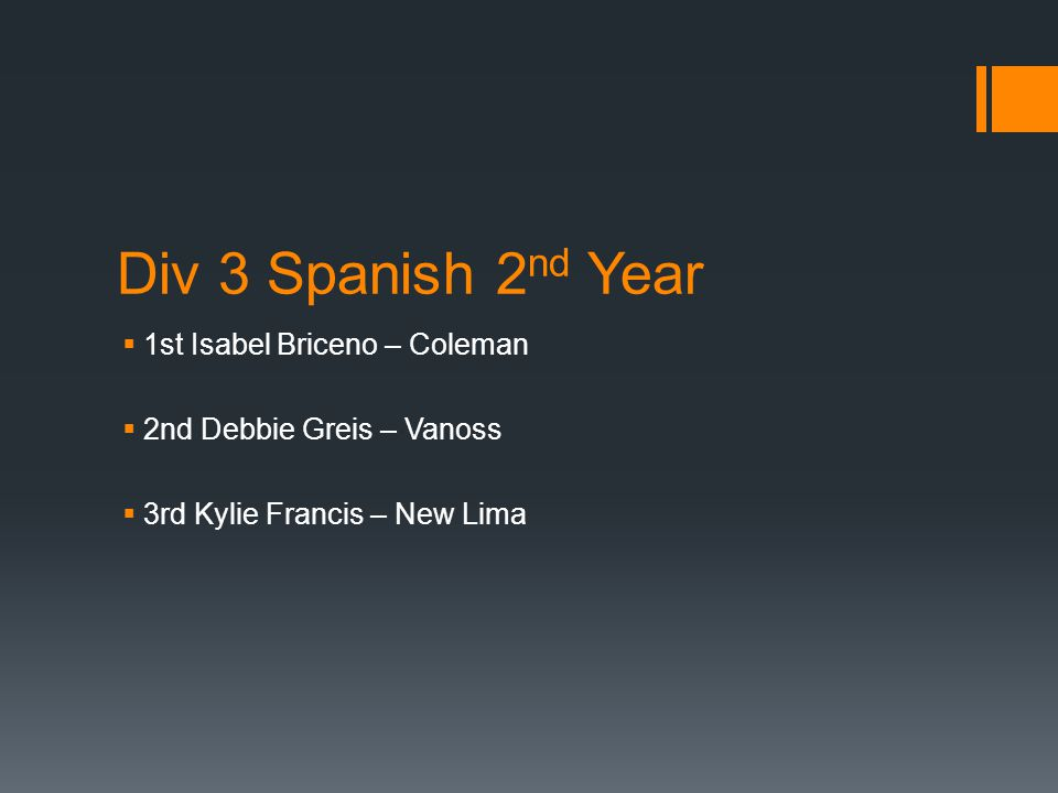 Div 3 Spanish 2 nd Year  1st Isabel Briceno – Coleman  2nd Debbie Greis – Vanoss  3rd Kylie Francis – New Lima