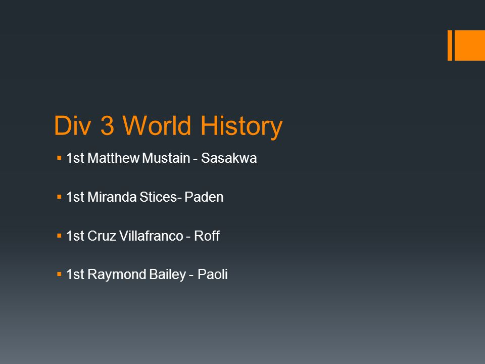Div 3 World History  1st Matthew Mustain - Sasakwa  1st Miranda Stices- Paden  1st Cruz Villafranco - Roff  1st Raymond Bailey - Paoli
