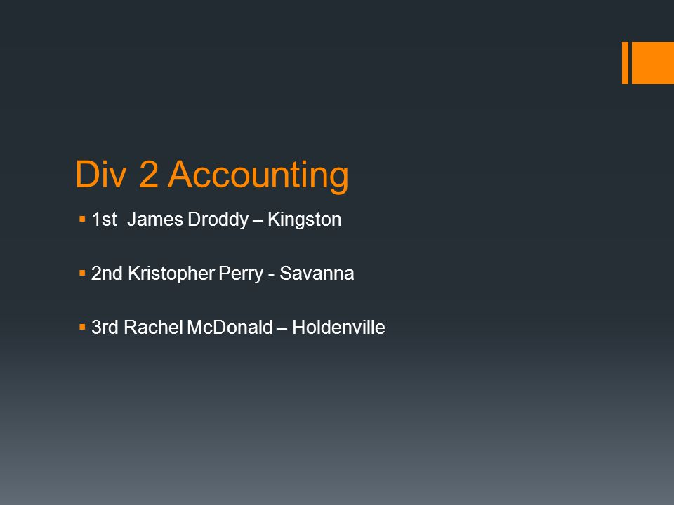 Div 2 Accounting  1st James Droddy – Kingston  2nd Kristopher Perry - Savanna  3rd Rachel McDonald – Holdenville